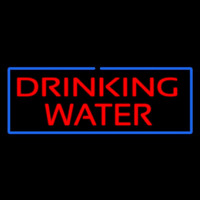 Red Drinking Water With Blue Border Neon Skilt