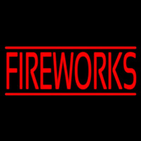 Red Fireworks Block Neon Skilt