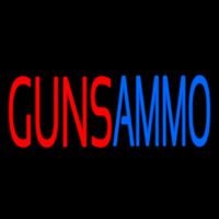 Red Guns Ammo Neon Skilt