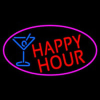 Red Happy Hour And Wine Glass Oval With Pink Border Neon Skilt