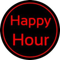 Red Happy Hour Neon Skilt