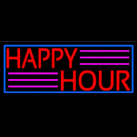 Red Happy Hour With Blue Border Neon Skilt