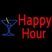 Red Happy Hour With Blue Martini Glass Neon Skilt
