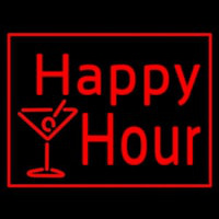 Red Happy Hour With Wine Glass Neon Skilt