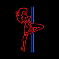Red Hot Girl With Poll Neon Skilt