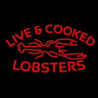 Red Live And Cooked Lobsters Seafood Neon Skilt