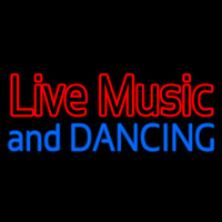 Red Live Music Blue And Dancing Neon Skilt