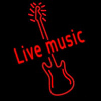 Red Live Music Guitar Neon Skilt