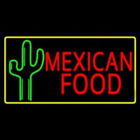 Red Me ican Food With Cactus Logo Neon Skilt