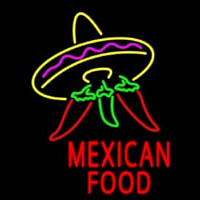 Red Mexican Food Logo Neon Skilt