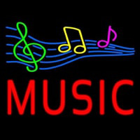 Red Music With Musical Notes Neon Skilt