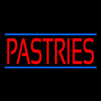 Red Pastries Blue Border Neon Skilt
