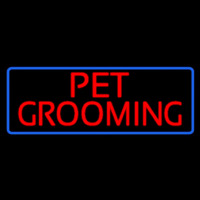 Red Pet Grooming Blue Border Neon Skilt