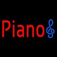 Red Piano Music Note Neon Skilt