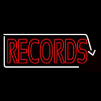 Red Records With White Arrow 2 Neon Skilt
