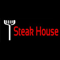 Red Steakhouse With Fork Neon Skilt
