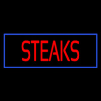 Red Steaks With Blue Border Neon Skilt