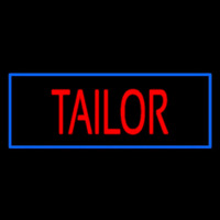 Red Tailor With Blue Border Neon Skilt