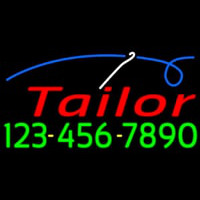 Red Tailor With Phone Number Neon Skilt