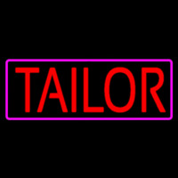 Red Tailor With Pink Border Neon Skilt