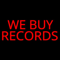 Red We Buy Records Neon Skilt