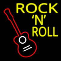 Rock N Roll With Guitar Neon Skilt