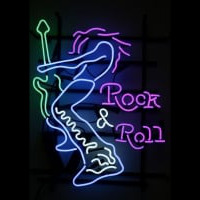 Rock Roll Electric Guitar Player Neon Skilt