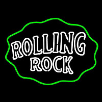 Rolling Rock Double Line Logo With Wavy Circle Neon Skilt