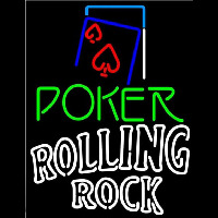 Rolling Rock Green Poker Red Heart Beer Sign Neon Skilt