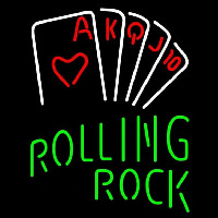 Rolling Rock Poker Series Beer Sign Neon Skilt