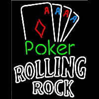 Rolling Rock Poker Tournament Beer Sign Neon Skilt