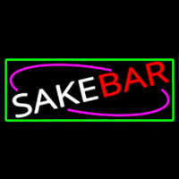 Sake Bar With Green Border Neon Skilt