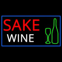 Sake Wine Bottle Glass With Blue Border Neon Skilt