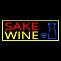 Sake Wine With Bottle And Glass Neon Skilt