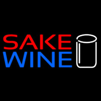 Sake Wine With Glass Neon Skilt