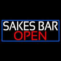 Sakes Bar Open With Blue Border Neon Skilt