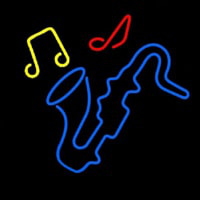 Saxophone With Musical Notes Neon Skilt