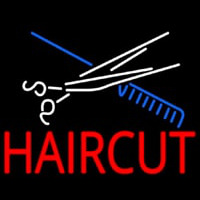 Scissor And Comb Haircut Neon Skilt