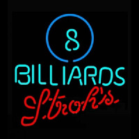 Strohs Ball Billiards Pool Neon Skilt