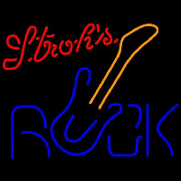 Strohs Rock Guitar Beer Sign Neon Skilt