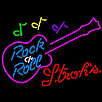 Strohs Rock N Roll Pink Guitar Beer Sign Neon Skilt
