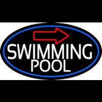 Swimming Pool With Arrow With Blue Border Neon Skilt