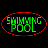 Swimming Pool With Red Border Neon Skilt