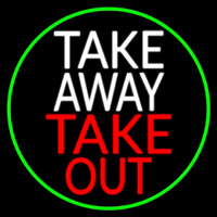Take Away Take Out Oval With Green Border Neon Skilt