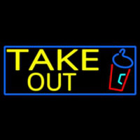 Take Out And Wine Glass With Blue Border Neon Skilt