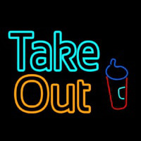 Take Out With Wine Glass Neon Skilt