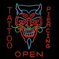 Tattoo Body Piercing Shop OPEN Neon Skilt