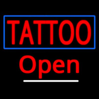 Tattoo With Blue Border Open Neon Skilt