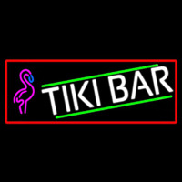 Tiki Bar Flamingo With Red Border Neon Skilt