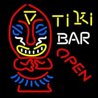 Tiki Bar Open Palm Tree Bamboo Hut Neon Skilt